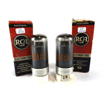 True NOS NIB Date Matched Pair RCA US 7C5 Black Plate Smoked Glass Tubes