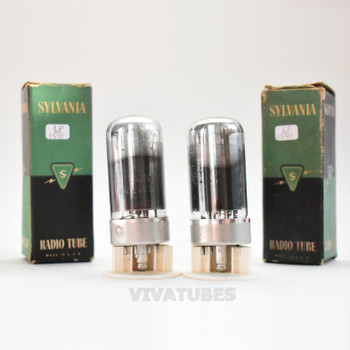 True NOS NIB Matched Pair Sylvania USA 7C5 Smoked Glass Vacuum Tubes