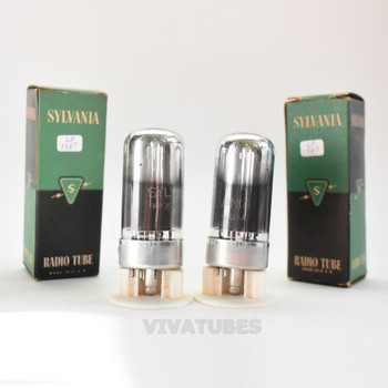 True NOS NIB Date Matched Pair Sylvania USA 7C5 Smoked Glass Tubes