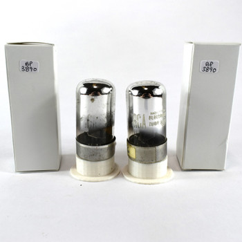 Matched Pair RCA USA 7C6 Black Smooth Round 3 Mica Vacuum Tubes 70%