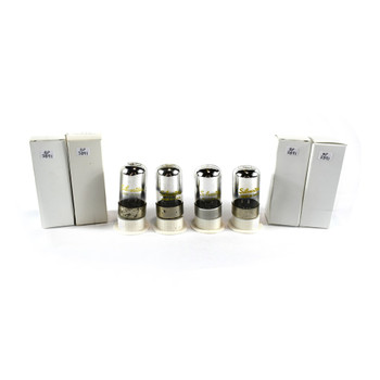 Matched Quad (4) Silvertone USA 7C6 Black 3 Mica Rust Vacuum Tubes 80%