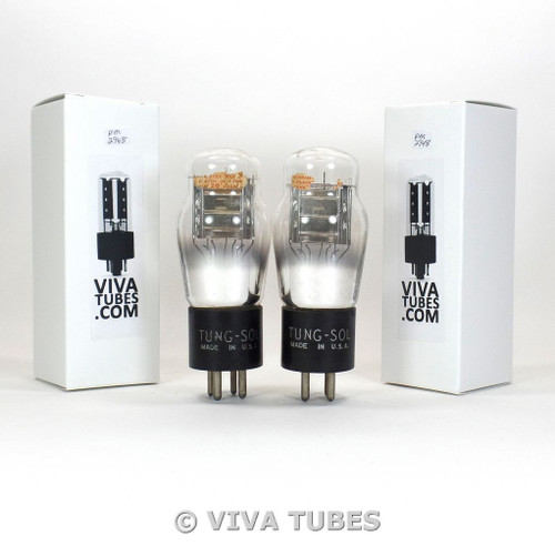 Matched Pair Tung-Sol USA Type 26 Silver Plate Vacuum Tubes Test = 600