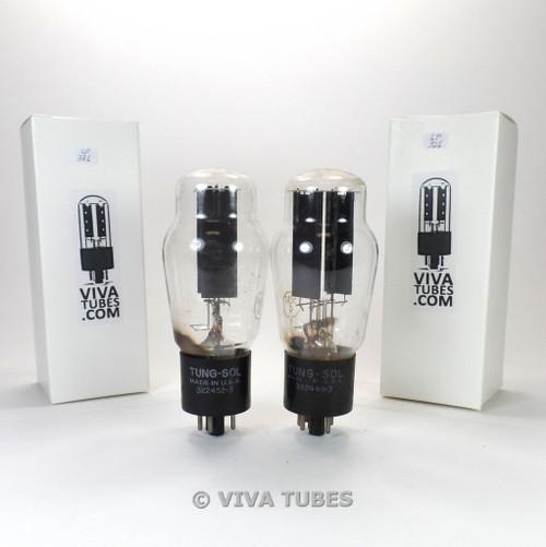 Matched Pair Tung-Sol USA 5U4G Black Plate Vacuum Tubes Test = 52/44 & 52/46