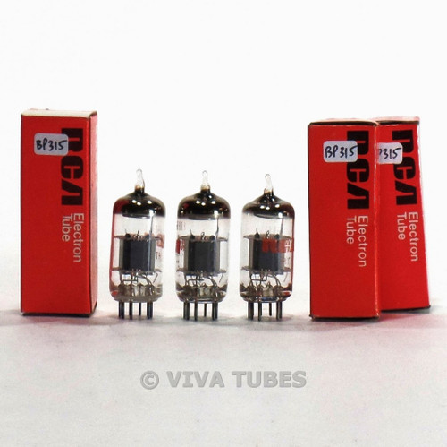 True NOS NIB Date Matched Trio (3) GE USA 6GH8A Grey Plate Tubes 100%