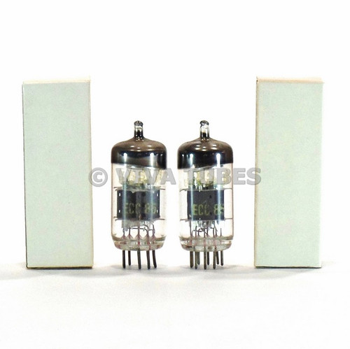 True NOS Matched Pair (2) RFT Germany ECC85 / 6AQ8 6N1P Grey Plate Vacuum Tubes