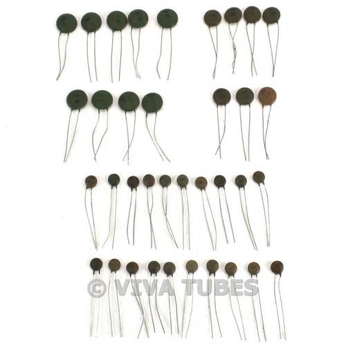 Vintage Lot 107 of Centralab/CRL Ceramic Tubular & Disc Capacitors