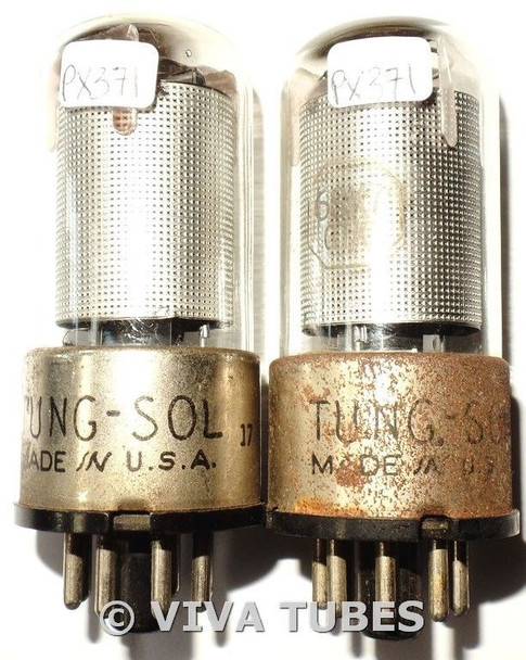 Matched Pair Vintage Tung-Sol USA 6SK7GT Mesh Plate Rust Vacuum Tubes 78&88%