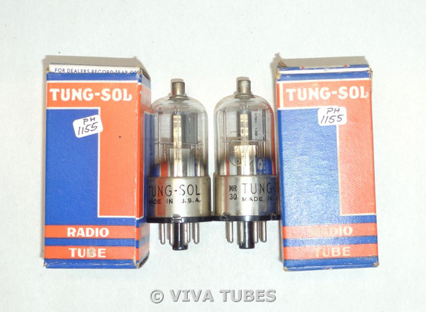 NOS NIB Date Matched Pair Tung-Sol USA 12Q7GT Half Grey Plate Vacuum Tubes