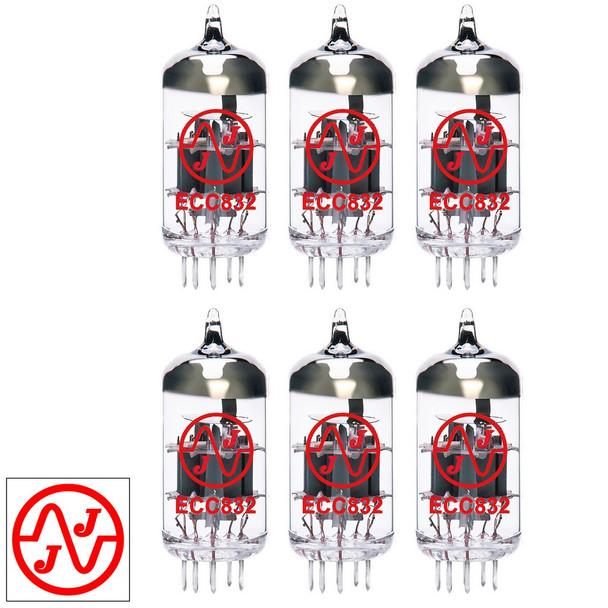 Gain Matched Sextet (6) JJ 12DW7 / ECC832 / 7247 Vacuum Tubes - Brand New