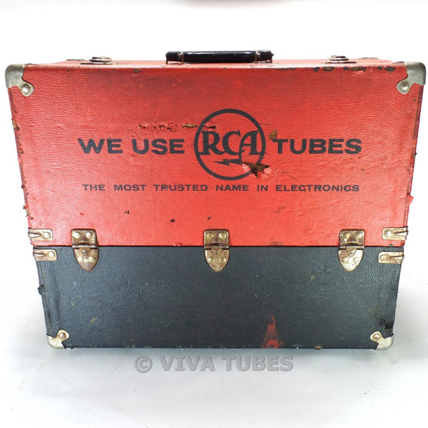 Medium, Red & Black, RCA, Vintage Radio TV Vacuum Tube Valve Caddy Carrying Case