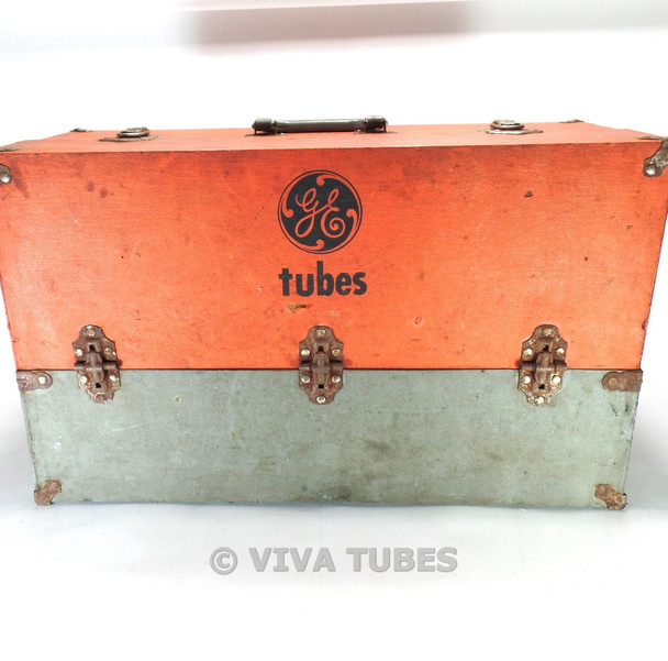 Large Orange & Grey, GE, Vintage Radio TV Vacuum Tube Valve Caddy Carrying Case