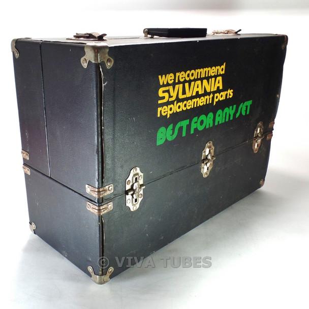 Larg, Black, Sylvania, Vintage Radio TV Vacuum Tube Valve Caddy Carrying Case
