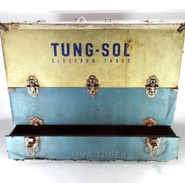 Large , Blue & Cream, Tung-Sol, Vintage Radio TV Vacuum Tube Valve Caddy Case