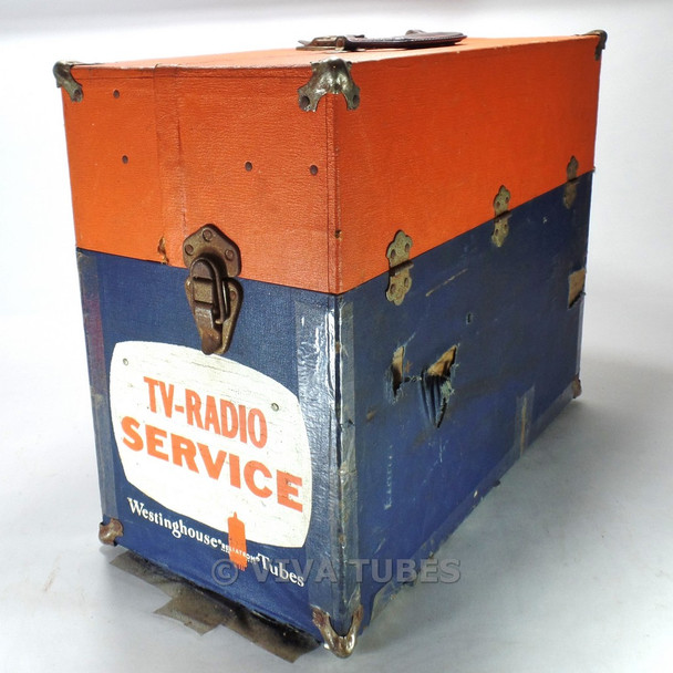 Orange & Blue Westinghouse, Vintage Radio TV Vacuum Tube Caddy Carrying Case
