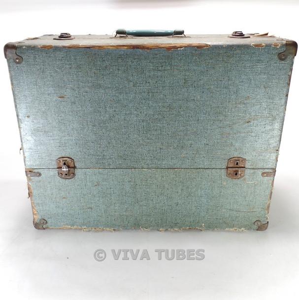 Medium, Blue Speckled, Raytheon, Vintage Radio TV Vacuum Tube Caddy Case