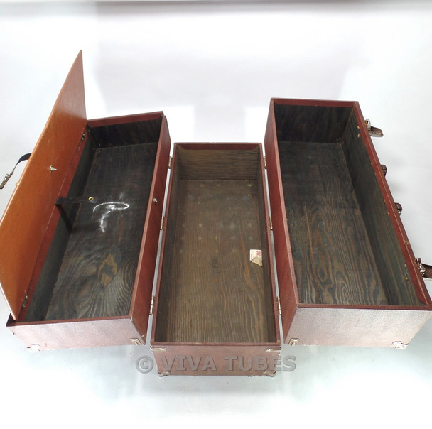 Larg  Brown, GE, Vintage Radio TV Vacuum Tube Valve Caddy Carrying Case