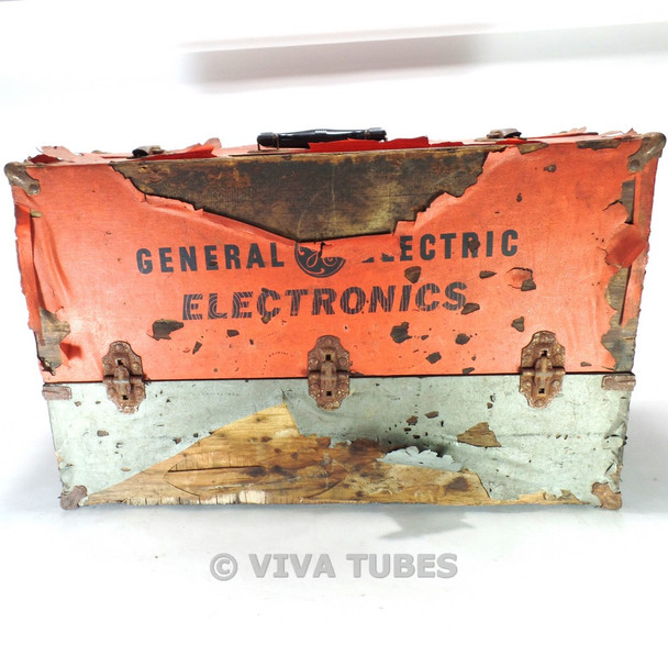 Large, Orange Grey, GE, Vintage Radio TV Vacuum Tube Valve Caddy Carrying Case