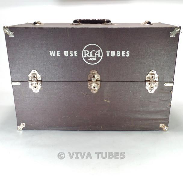 Large, Brown, Vintage Radio TV Vacuum Tube Valve Caddy Carrying Case