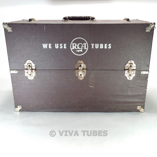 Large, Brown, Vintage Radio TV Vacuum Tube Valve Caddy Carrying Case