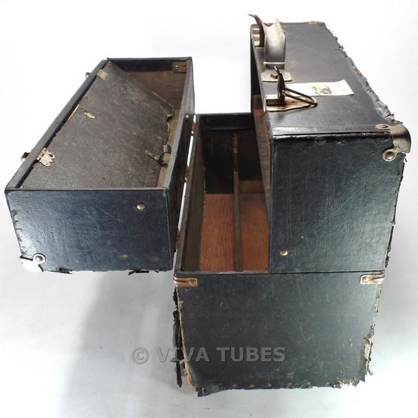 Large, Black, Sylvania, Vintage Radio  Vacuum Tube Valve Caddy Carrying Case