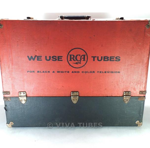 Large, Red Black, RCA, Vintage Radio TV Vacuum Tube Valve Caddy Carrying Case