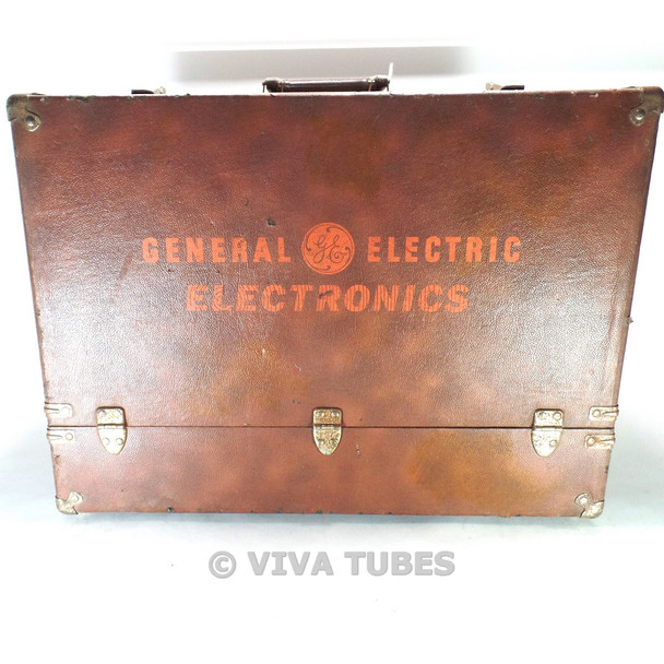 Large, Brown, GE, Vintage Radio TV Vacuum Tube Valve Caddy Carrying Case