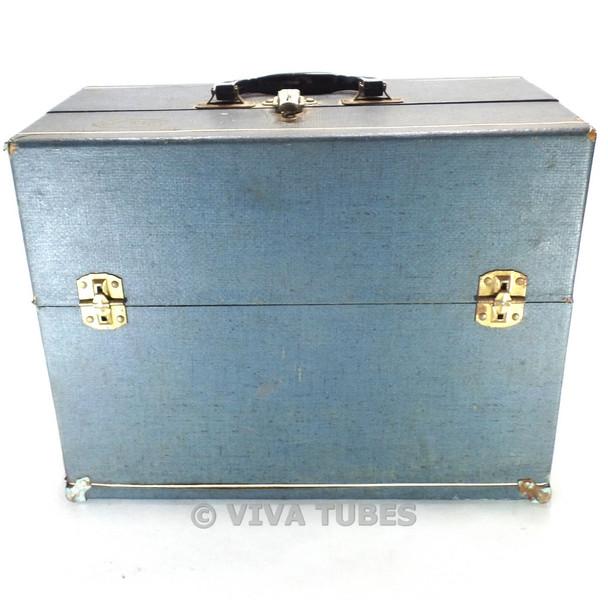 Small, Blue, Raytheon, Vintage Radio Vacuum Tube Valve Caddy Carrying Case