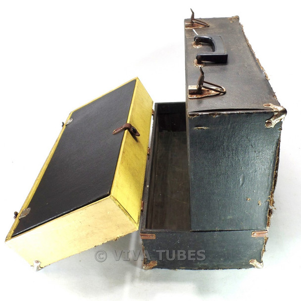 Large, Black & Yellow, Sylvania, Vintage Radio TV Vacuum Tube Caddy Case