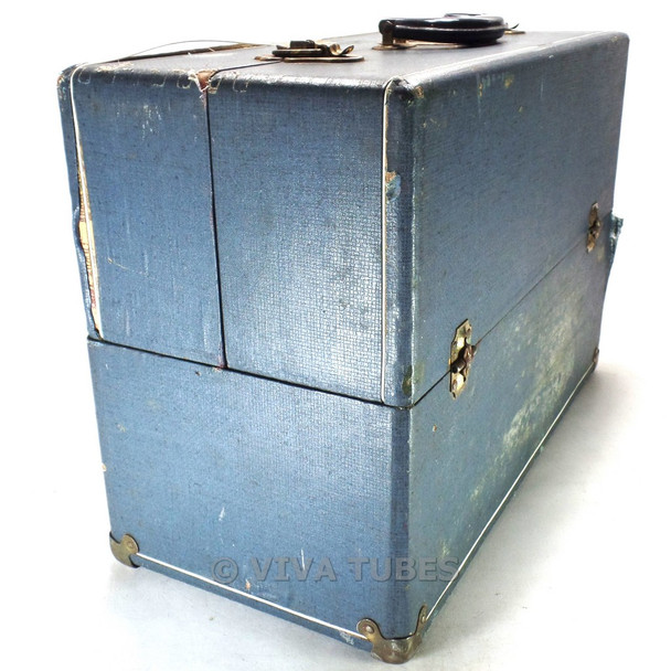 Blue Speckled, Raytheon, Vintage Radio TV Vacuum Tube Valve Caddy Carrying Case