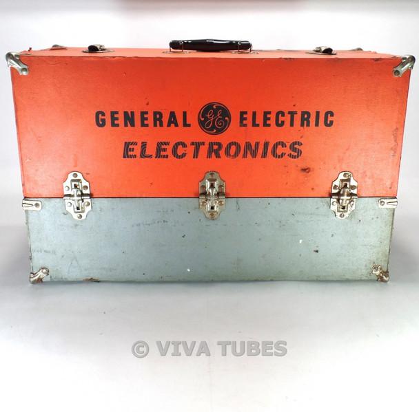 Large Orange- Grey, GE, Vintage Radio TV Vacuum Tube Valve Caddy Carrying Case