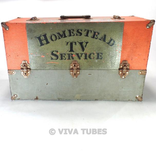 Large, Orange & Grey, GE, Vintage Radio TV Vacuum Tube Valve Caddy Carrying Case