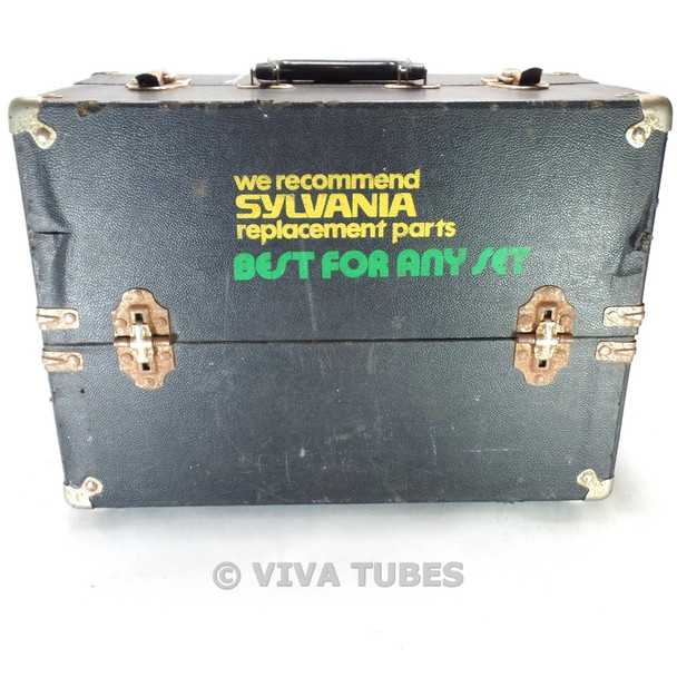 Small, Black, Sylvania, Vintage Radio TV Vacuum Tube Valve Caddy Carrying Case