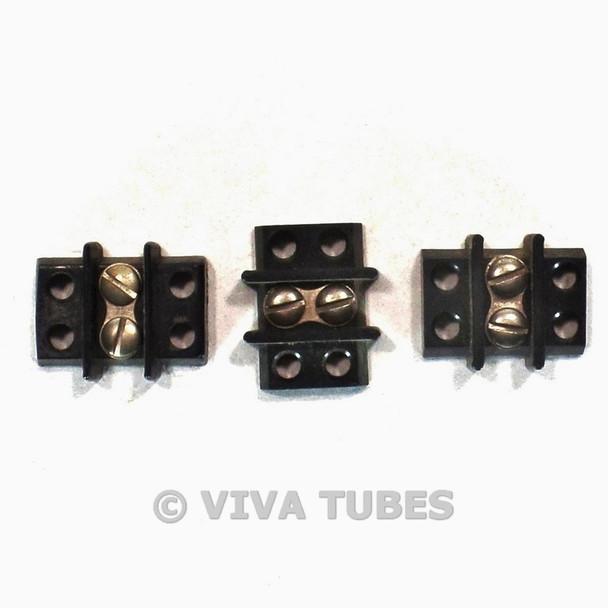 Vintage Lot of 3 Jones Black 1-Position Terminal Strips