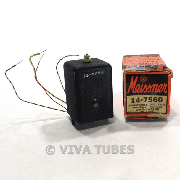 NOS NIB Vintage Meissner 14-7560 Adjustable Iron-Core Oscillator Coil 175-520kc