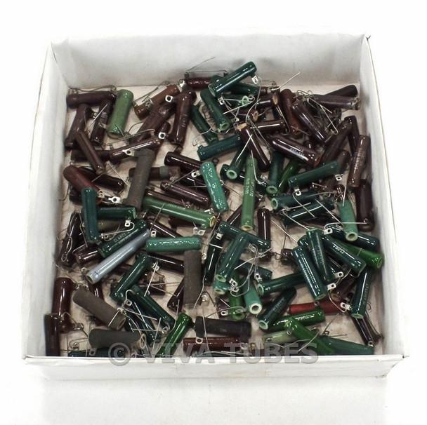 Vintage Lot of 125 Various Brands Wire Wound Ceramic Resistors 10-20 Watt