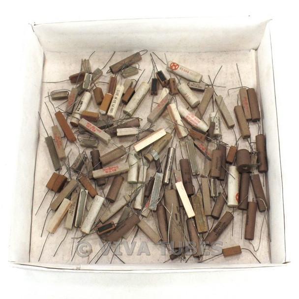 Vintage Lot of 102 Various Brands Wire Wound Ceramic Resistors 5-14 Watt