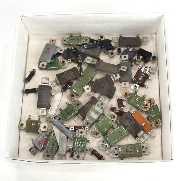 Vintage Lot of 54 Various Brands Flat Ceramic Wire Wound Resistors 20-50 Watt