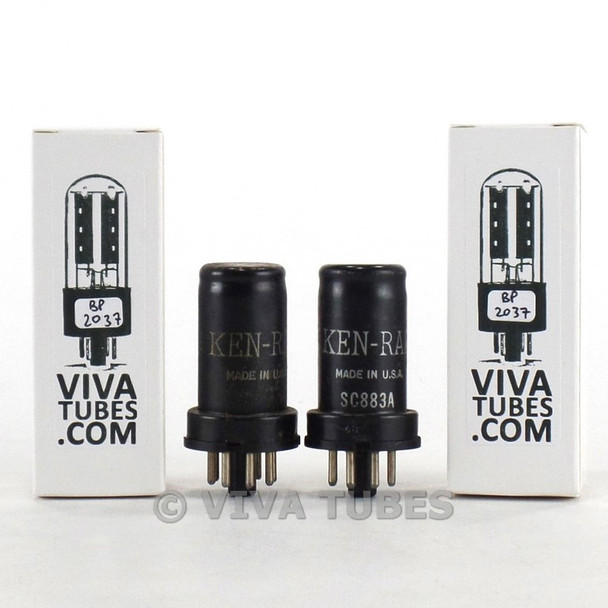 Tests NOS Matched Pair Ken-Rad USA 6SJ7 / VT-116 Metal Rust Vacuum Tubes 100%