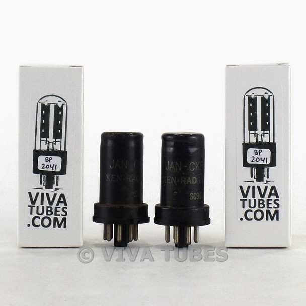 Tests NOS Date Matched Pair Ken-Rad USA JAN-CKR-6SJ7/VT-116 Metal Rust Tubes