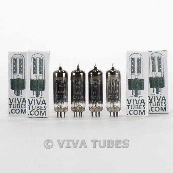 True NOS Matched Quad Brimar England 6X4 / EZ90 Black Glass Smoked Vacuum Tubes