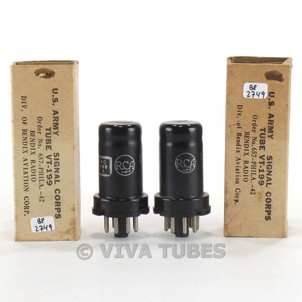 True NOS NIB Matched Pair RCA USA 6SS7 / VT-199 Metal Vacuum Tubes 100+%