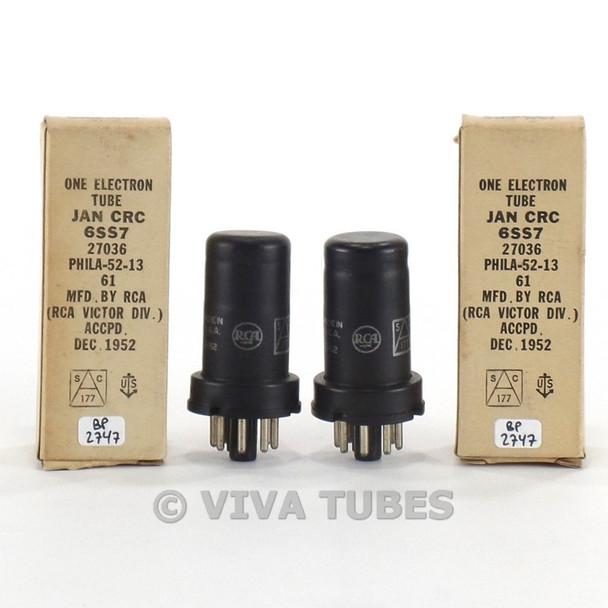 True NOS NIB Date Matched Pair RCA USA JAN-CRC-6SS7 Metal Vacuum Tubes