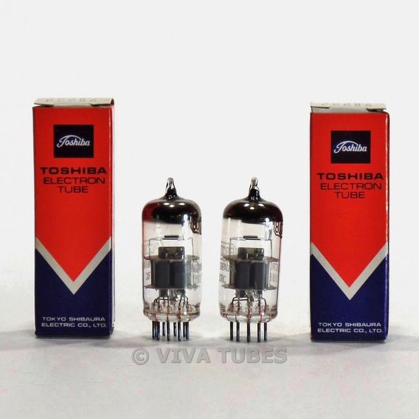 True NOS NIB Matched Pair (2) Toshiba Japan 7DJ8/PCC88 Silver Shield Tubes