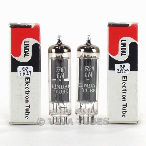 True NOS NIB Date Matched Pair Lindal USA EZ80 / 6V4 Grey Plate O Get Tubes