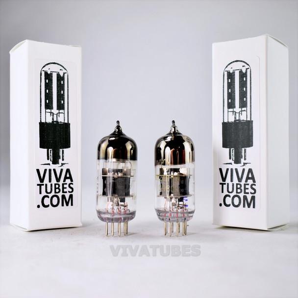 True NOS Matched Pair 6N23P-EV Soviet Russia 6922 6DJ8 Mil Spec Vacuum Tubes