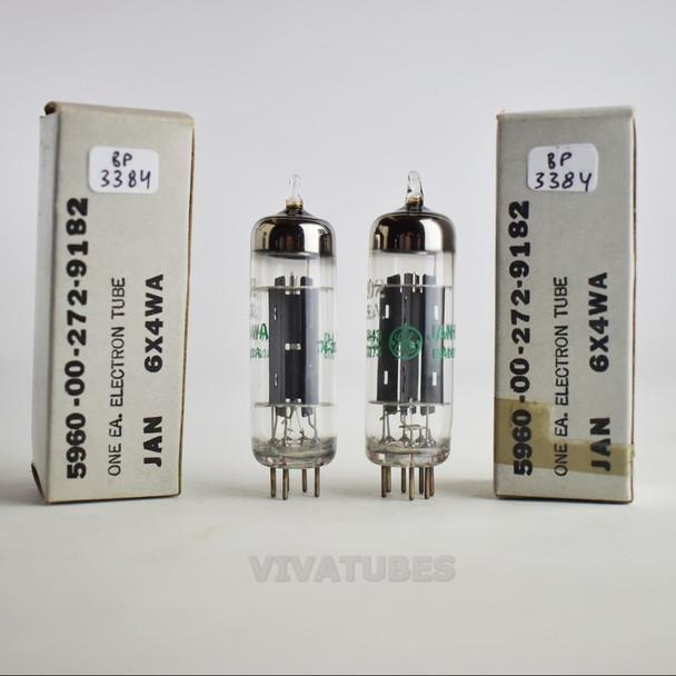 True NOS NIB Date Matched Pair GE US JAN-6X4WA/6202 Grey Plate Tubes