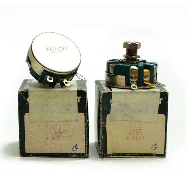 Lot of 2X. NOS NIB Clarostat 58C2 Short Shaft Potentiometer WIREWOUND 750 ohm