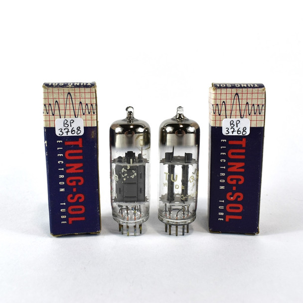 True NOS NIB Date Matched Pair Vintage Tung-Sol US 12BH7A Black OVAL P Tubes