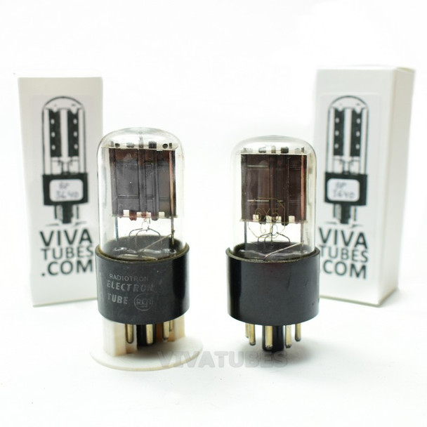 Tests NOS Date Matched Pair RCA US 6X5GT Black Flat Plate [] Get Vacuum Tubes