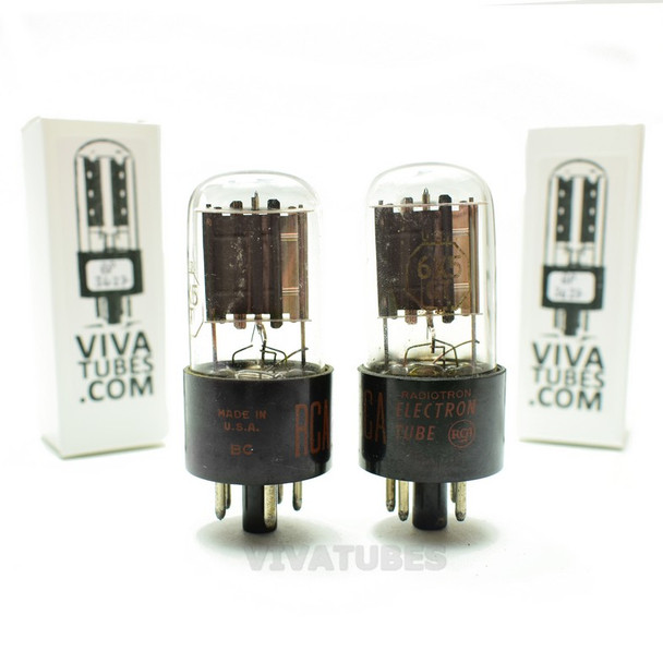 Tests NOS Matched Pair RCA USA 6X5GT Silver/Grey Plate [ ] Get Vacuum Tubes
